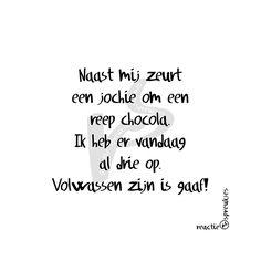 Volwassen zijn is gaaf! #chocola #humor #tekst #quote #Nederlands