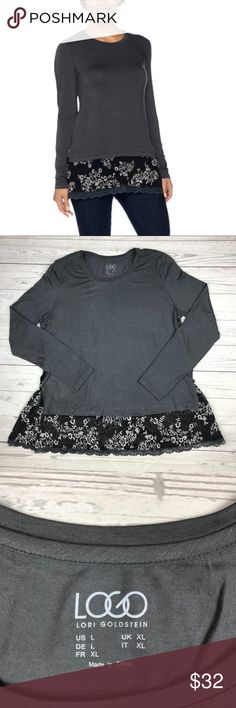 LOGO by Lori Goldstein Knit Top With Lace Trim Excellent used condition. No rips, holes, or stains. Long sleeves with lace trim and side button detail. Color is called 'Slate'. Bust 21'' Length 29'' (lace) 23'' (shirt) LOGO by Lori Goldstein Tops