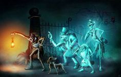 our beloved hitchhiking ghosts along with the caretaker and his faithful companion. Haunted Mansion Disney, Haunted Mansion Halloween, Disney Halloween, Halloween Art, Disney Fan Art, Disney Love, Disney Magic, Disney Stuff, Disney Rides