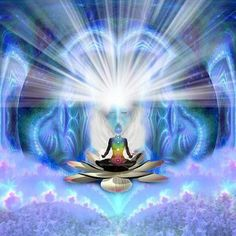 The Eighth Chakra, Sometimes called The Seat of the Soul, is Blue White and is related to Auric Space.