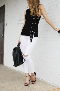 Black lace up sleeveless top, white distressed jeans and nudist sandals #fallfashion