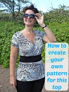 Great beginner video tutorial on pattern hacking.  How to take a basic t-shirt pattern and create this top, knowing it will fit you.