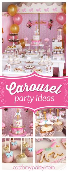 Don't miss this fabulous Carousel of Dreams Party! The birthday cake is amazing!! See more party ideas and share yours at CatchMyParty.com #carousel #vintage