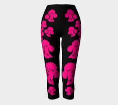 """Capris+""""Fushia+poodle+heads""""+by+Maureen+Broussalian+of+Poodles+in+Provence"""
