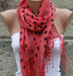 Polka Dot Scarf  Red  Scarf   Cotton Scarf  Cowl with  by fatwoman, $17.00