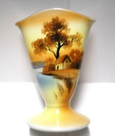 Noritake China Flared Vase Tree-in-the-Meadow sometimes called House-by-the-Lake Hand Painted China  Vintage Japanese Morimura Peach Fancyware Nippon Era Art Deco shape. 1918-1936