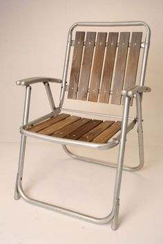 Vintage Aluminum Folding LAWN CHAIR redwood by SaveAmericanHistory