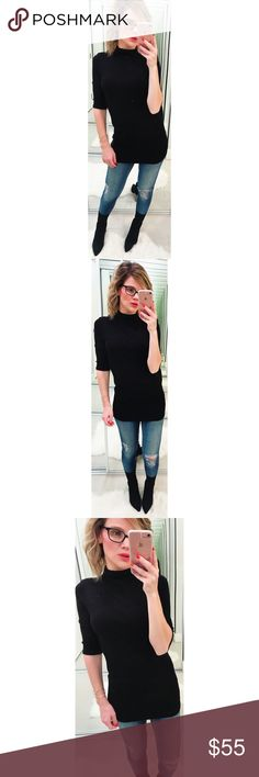 Michael Stars Black Mock Neck Top A fitted and soft top featuring a Mock Neck and 3/4 sleeves. 97% Rayon, 3% Lycra. One size fits most. New with tags. Made in USA. 💕Offers welcome on single items and on bundles. Take 20% off your bundles automatically at check out. Happy Poshing!💕 Michael Stars Tops