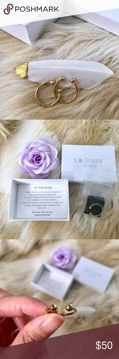 La Soula Two Stackable Gold Tone w/ Diamond Rings Gold plated.  Two diamonds in the center (see photo).  Come with box.  New, never used.   🌸 Smoke and pet free home 🌸 Reasonable offer welcome.  Automatic 20% discount on 4+ items. 🌸 Please keep Poshmark 20% fee in mind when shopping, thank you! La Soula Jewelry Rings