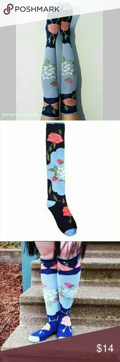 "NWT Peony & Moss ""Country"" Knee High Socks NWT Peony & Moss ""Country"" Knee High Socks. Pretty pink roses on light blue and dark blue background. Light blue cuff, heel, and toe. One pair pack. Women's one size fits all. Beautiful socks designed in Seattle. Made on specialty sock knitting machines. Imported. Seamless toe. 80% soft, absorbent cotton, 15% nylon for shape, 5% spandex for stretch.  Please let me know if you have questions! Happy Poshing! Peony and Moss Accessories Hosiery & Socks"