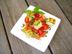 Heirloom Tomato Salad with Pesto Grilled Cheese  Croutons