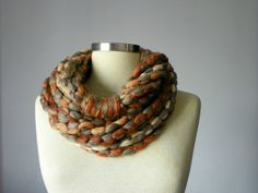 Infinity scarf necklace beige bronze earth rusty by yarnisland, $25.00