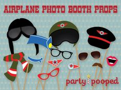Printable Airplane Birthday Party Aviator/ Pilot Photo Booth Props by party pooped. $6.00, via Etsy.