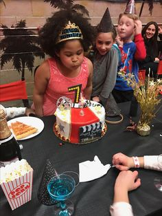 My daughter blowing out the candle at her Hollywood birthday party 🎂🎉🎈