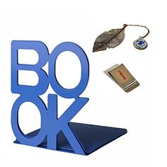 Kids' Room Bookends - EPlaza 1 Pair Heavy Bookends Metal Decorative 55 High  1 Piece Metal Bookmark blue BOOK >>> You can get more details by clicking on the image.