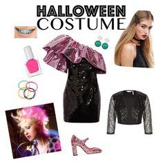 """Diy 80s Prom Queen costume"" by makeuphobbyist ❤ liked on Polyvore featuring Orelia, Yves Saint Laurent, tenoverten, Dolce&Gabbana, halloweencostume and DIYHalloween"