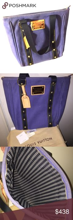"Authentic LV Cabas Antigua MM shoulder bag Blue used but with authenticity tag. Measures 13"" x 8"" x 3"" . PayPal payment preferred. Still have a long life ahead. Perfect all season bag. Louis Vuitton Bags Shoulder Bags"