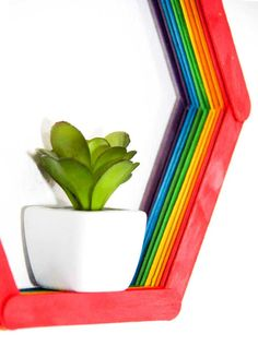 Modern-day Inside Style In Your Laundry Space Modern Shelf Diy. Making A Small Hexagon Shelf Out Of Popsicle Sticks. Home Diy Modern Popsicle Shelf Popsicle Stick Crafts For Kids, Popsicle Sticks, Craft Stick Crafts, Popsicle Art, Craft Sticks, Craft Ideas, Crafts To Make And Sell, Diy And Crafts, Wood Crafts