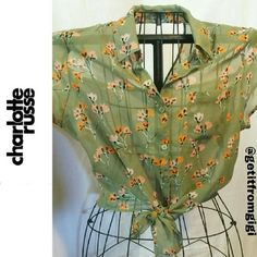 Charlotte Russe Cut-Out Top ADORABLE!! Size Large. Button down with ties in front. Cut out on back shoulders. Sheer material. Charlotte Russe Tops Blouses