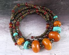 African Amber Necklace - Turquoise Necklace - Chunky Beaded Necklace - Ethnic Beaded - Beaded Necklace - Statement Necklace - Beadwork. $95.00, via Etsy.