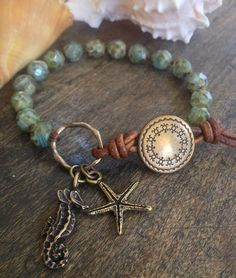 "Sea Horse & Starfish Hand Knotted Bracelet, ""Surfer Girl"