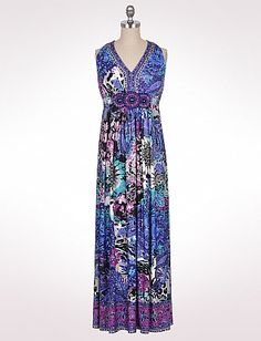 Belted Multi Floral Maxi Dress