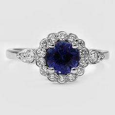 18K White Gold Sapphire Camillia Diamond Ring (1/4 ct. tw.)