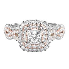 TRULY™ Zac Posen 1 ct. tw. Diamond Tricolor Engagement Ring in 14K Gold
