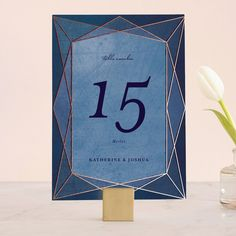 """Abstract Jewel"" - Modern Wedding Table Numbers in Amethyst by Rebecca Bowen."