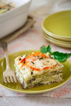 Roasted garlic and chèvre lasagna - uses zucchini, eggplant, and onions in lieu of noodles