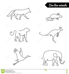 one line animals fox-wolf-kangaroo-monkey-mouse-elephant