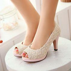 aa14322ed Peep Toe Mesclado Modelos De Sapatos, Mulher, Rendas, Pumps, Saltos Altos Em