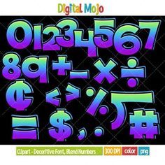 Clipart - Decorative Font, Blend Series 1 Numbers   What you get:   -Numbers 1-10 - Basic mathematical symbols (plus sign, minus sign, times sign, divide sign, equal sign, cent sign, dollar sign, less than sign, more than sign, percent sign, decimal sign, comma, number sign and long division sign)  -All clipart are colored in a blend (also know as melt) green, blue and purple