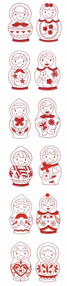 Embroidery | Machine Embroidery Designs | Russian Dolls Redwork www.matrioskas.es