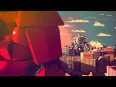A funny 3D short featuring 2 Robots fighting in a city center, sort of Pacific Rim Spoof.