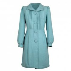$14.73 Fashional Stand Collar Pleated Puff Sleeve Woolen Fabric Coat For Women