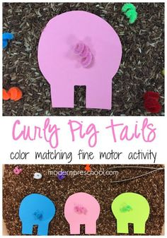 Help the pigs on the farm find their tails in the mud!  Simple fine motor color matching activity for preschoolers.