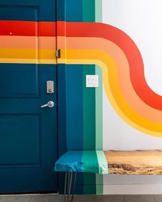 Colour Blocking Interior, Color Blocking, Black Hallway, Bedroom Wall, Bedroom Decor, 70s Decor, Home Decor, Striped Walls, Rental Decorating