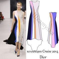 Выкройка вечернего платья Dior / free download pattern