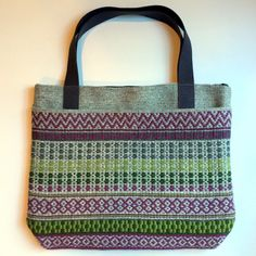 Barbara Pickel - Handwoven Rosepath Tote Bag. Linen warp and wool weft.