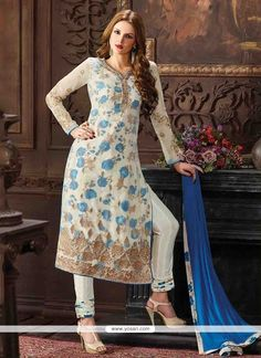 Striking Georgette Embroidered Work Pant Style Suit Model: YOS7041