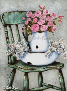 Stella Bruwer white enamel basin with white enamel pitcher inside basin holds white flowers pitcher pink roses on shabby green chair