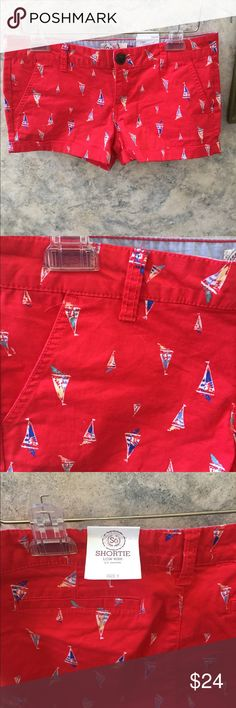 ❤️💙💚⚓️Sailboat shorts NWT! Get ready for summer! SO brand sailboat shortie shorts. About a 2 inch inseam and low rise. Bright red background with cute sailboats throughout. SO Shorts