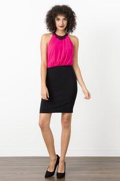 Suzy Shier Beaded Halter Sheath Dress
