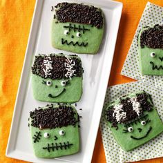 Freaky Frankenstein Cookies Recipe -They're alive! Each year when the Halloween invites start coming my way, I create a little treat to bring. These cute cookies bring a lot of life to every party. —Philia Kelnhofer, West Allis, Wisconsin
