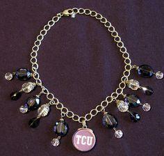 TCU Necklace Chunky Beaded Crystal Faux Amethyst Horned Frogs Silver Jewelry NEW | Sports Mem, Cards & Fan Shop, Fan Apparel & Souvenirs, College-NCAA | eBay!