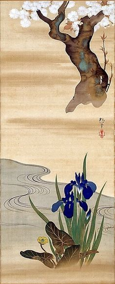 Irises and flowering tree. Sakai Hōitsu (Japanese, 1761–1828).  Edo period. 1820–28. One of a triptych of Japanese hanging scrolls; ink and color on silk. In the Met's Rinpa exhibit. Gitter-Yelen Collection.