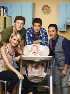 Still of Tahj Mowry, Chelsea Kane, Jean-Luc Bilodeau and Derek Theler in Baby Daddy
