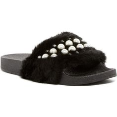 Catherine Catherine Malandrino Mermaid Faux Fur Slide Sandal ($30) ❤ liked on Polyvore featuring shoes, sandals, black, black strappy sandals, black shoes, slip on sandals, slip-on shoes and black sandals