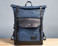 Navy blue waxed canvas backpack. Hipster backpack. by InnesBags
